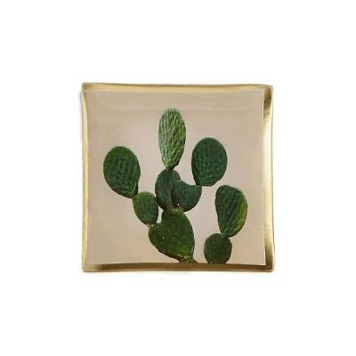 Cactus Glass Jewelry Make Up Tray Candle Plate 10cm x 10cm