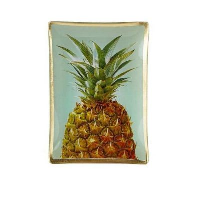 Pineapple Glass Jewelry Make Up Tray Candle Plate 14cm x 10cm