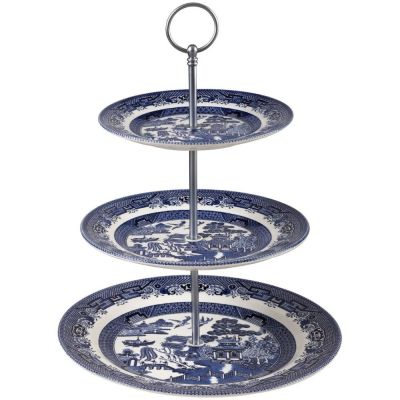 Blue Willow 3 Tier Cake Stand