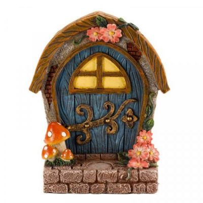 Garden Fairy Elf Door Decoration in Blue