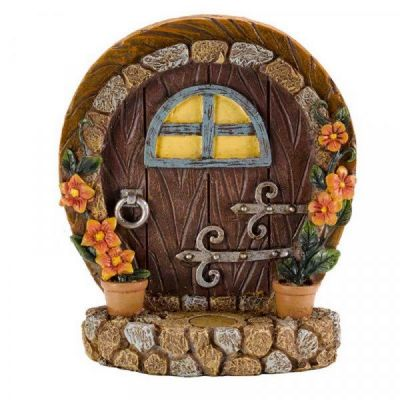 Garden Fairy Elf Door Decoration in Brown