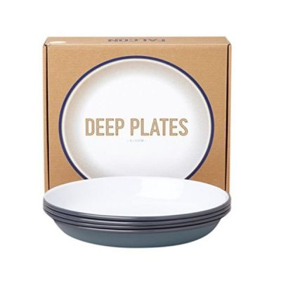 Set of 4 Enamel Deep Plates in Pigeon Grey by Falconware