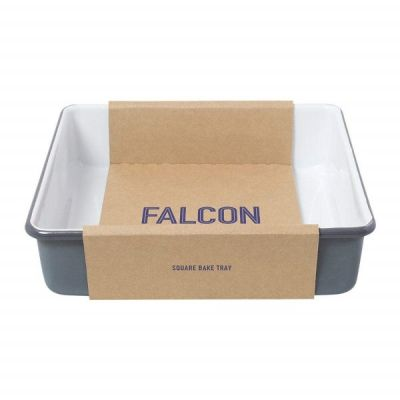 Enamel Square Bake Tray in White and Grey from Falcon Enamelware