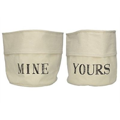 Stir It Up Set of 2 Yours Mine 100% Cotton Storage Bags Bag in Cream