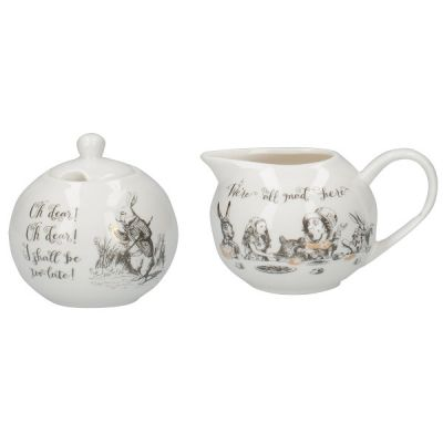 Victoria and Albert Alice in Wonderland Porcelain Sugar Bowl and Creamer Set