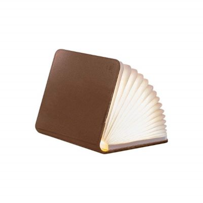 LED Smart Book Light Mini with Natural Brown Leather Effect Finish