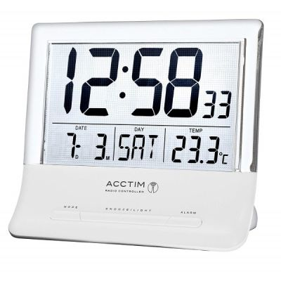 Torne Radio Controlled Alarm Clock with Jumbo LCD Screen and Temperature