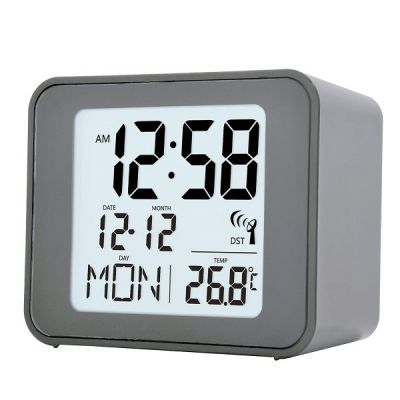 Cole Radio Controlled Bedside Alarm Clock Small in Grey