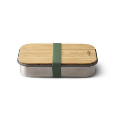 Stainless Steel & Natural Bamboo Sandwich Box in Olive Green