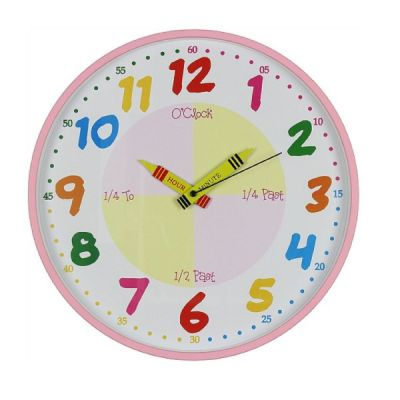 Children's Teach the Time Wall Clock in Pink