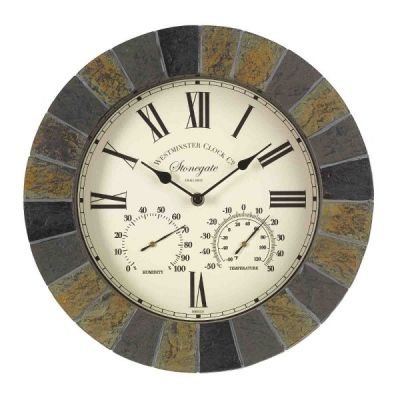 Indoor and Outdoor Stonegate Wall Clock and Thermometer in State Stone Effect 35cm