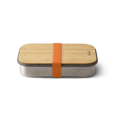 Stainless Steel & Natural Bamboo Sandwich Box in Orange