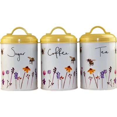 Busy Bees Bumble Bee Design Tin Tea Coffee Sugar Storage Canister