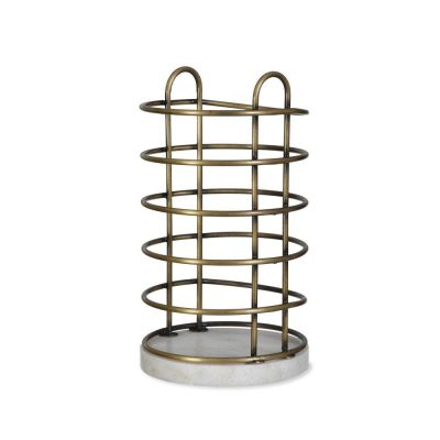 Brompton Utensil Holder in Antique Brass Finish Crafted Wirework and Marble