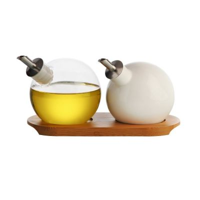Typhoon Handmade Glass & Ceramic Orb Drizzler Set with Bamboo Tray