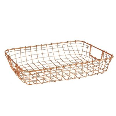 Cabo Copper Letter Basket in Woven Wire