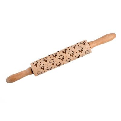 Reindeer Festive Christmas Etched Wooden Rolling Pin 38cm
