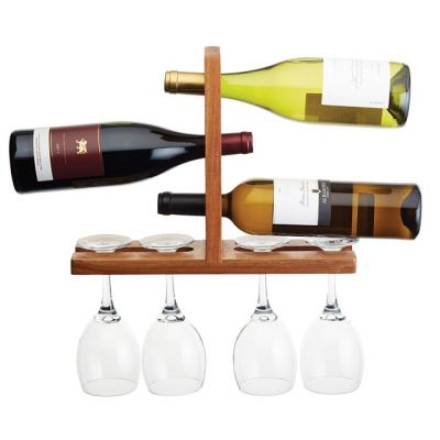 Wall-Mounted Wine Glass and Bottle Rack