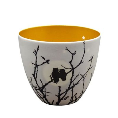 "Tealight Candle Holder in ""Love Owls"" Design 8cm from the Golden Circle Range"