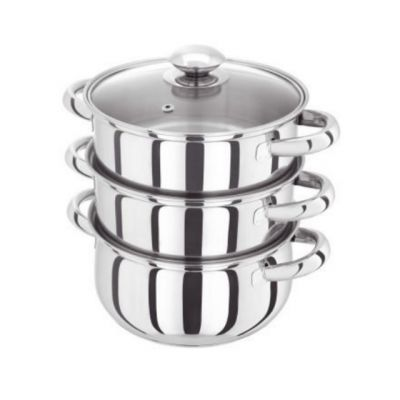 Basics 3 Tier Steamer with Glass Lid 18cm