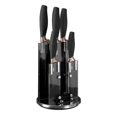 Brooklyn Revolving 5 piece Knife Block in Black and Chrome