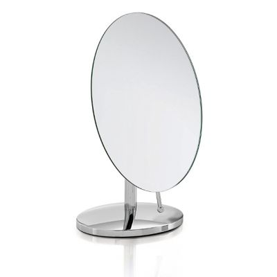 Bathroom Pedestal Mirror in Stainless Steel from the Oblique Range
