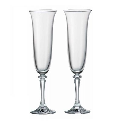 Classic Crystal Champagne Flutes, Set of 2