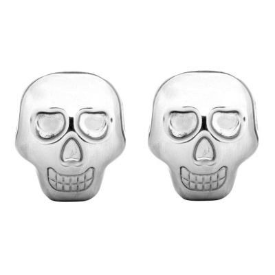 Pack of 2 Stainless Steel Skull Ice Cubes