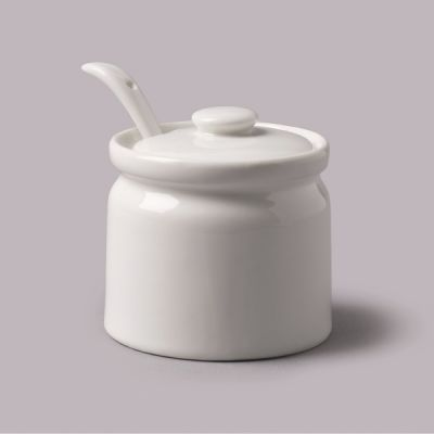 WM Bartleet & Sons Ceramic Small Sugar or Jam Pot with Spoon