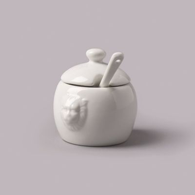 WM Bartleet & Sons Ceramic Mustard Pot with Spoon