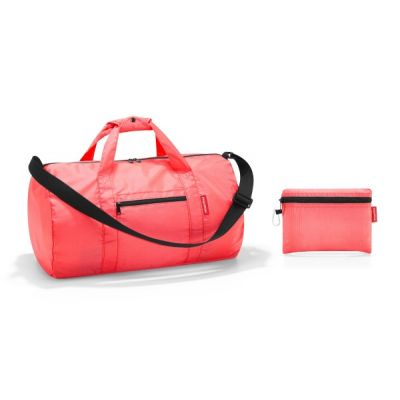 Mini Maxi Foldup Duffle Bag in Coral Red