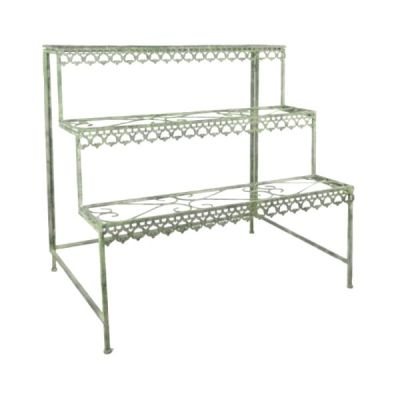 3 Tier Metal Plant Stand Etagere with Green Rustic Finish
