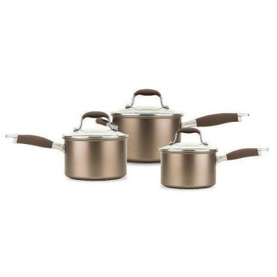 Hard Anodised Non Stick Advanced Umber 3 Piece Pan Set in Deep Copper