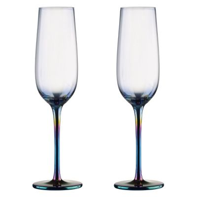 Set of 2  Mirage Lustre Iridescent Champagne Flutes