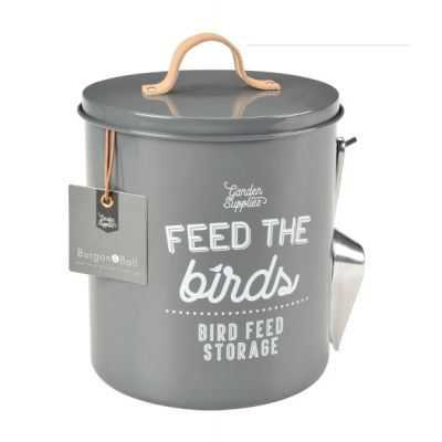 Charcoal Grey Bird Food Storage Tin with Scoop and Leather Handle