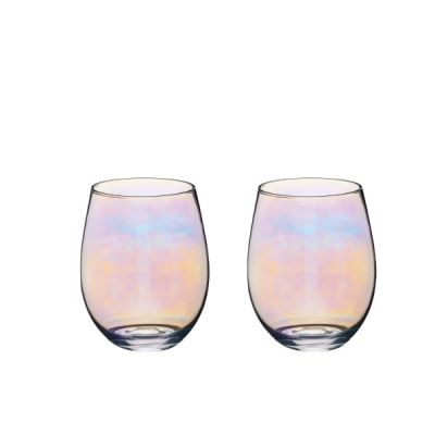 Set of Two Iridescent Rainbow Glass Balloon Glasses Tumblers 600ml