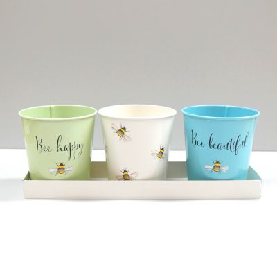 Bee Happy Set of 3 Decorated Painted Steel Herb Pots with Tray