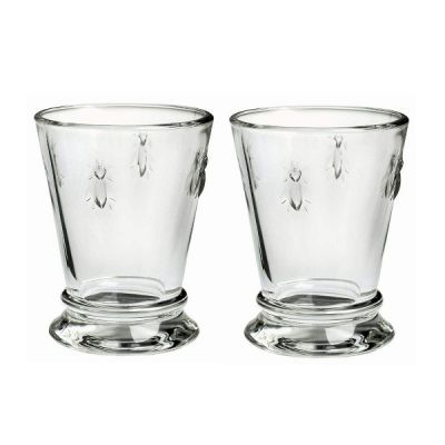 Set of 2 Bee Glass Shot Schnapps French Heritage Glasses
