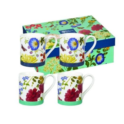 Butterflies and Bloom Set of 4 Mugs Mug Cup Gift Boxed