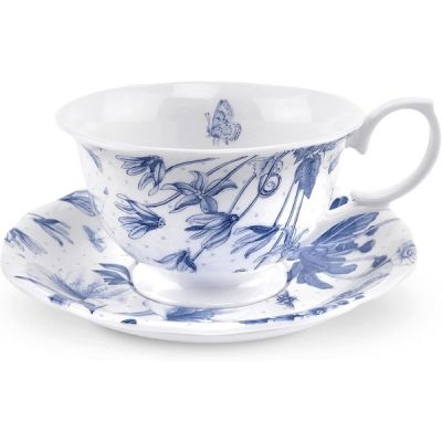 Vinatge Style Botanic Blue Teacup and Saucer