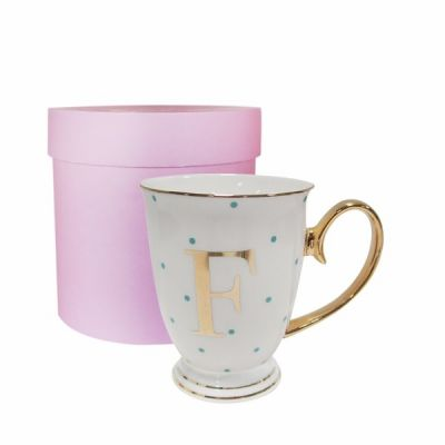 F Gold Letter with Aqua Spots Alphabet A to Z Spotty Mug Cup in Gift Box