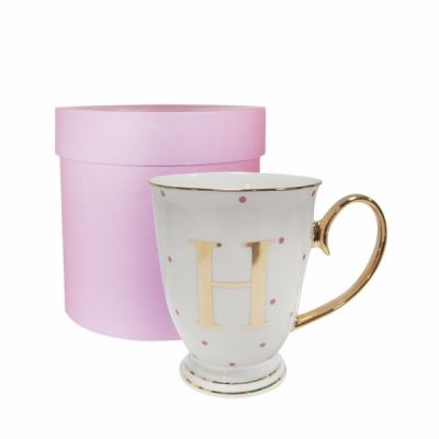 H Gold Letter with Fuchsia Spots Alphabet A to Z Spotty Mug Cup in Gift Box