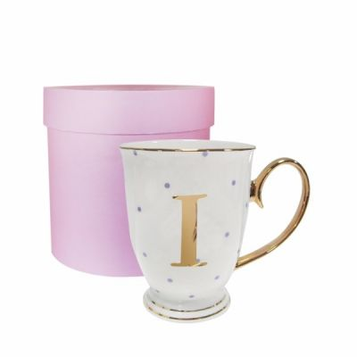 I Gold Letter with Lilac Spots Alphabet A to Z Spotty Mug Cup in Gift Box