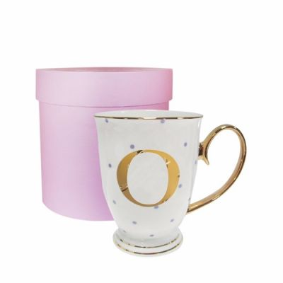 O Gold Letter with Lilac Spots Alphabet A to Z Spotty Mug Cup in Gift Box