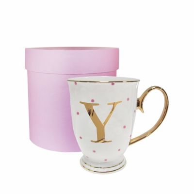 Y Gold Letter with Fuchsia Spots Alphabet A to Z Spotty Mug Cup in Gift Box