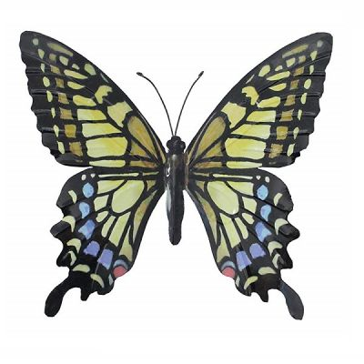 Large Handcrafted Metal Butterfly for the Home and Garden in Yellow Blue and Black