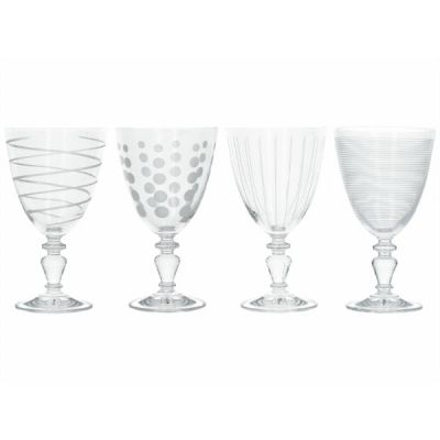 Set of 4 Cheers Crystal Glass Wine Goblets Glasses from the Mikasa Range at Creative Tops