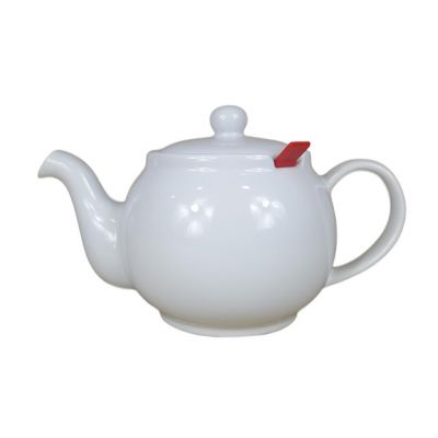 White 4 Cup Filter Teapot