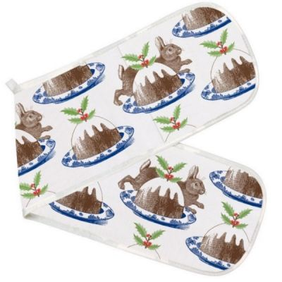 Double Oven Glove in Christmas Pudding Design