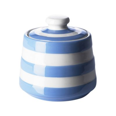 Blue & White Stripe Stoneware Covered Sugar Bowl